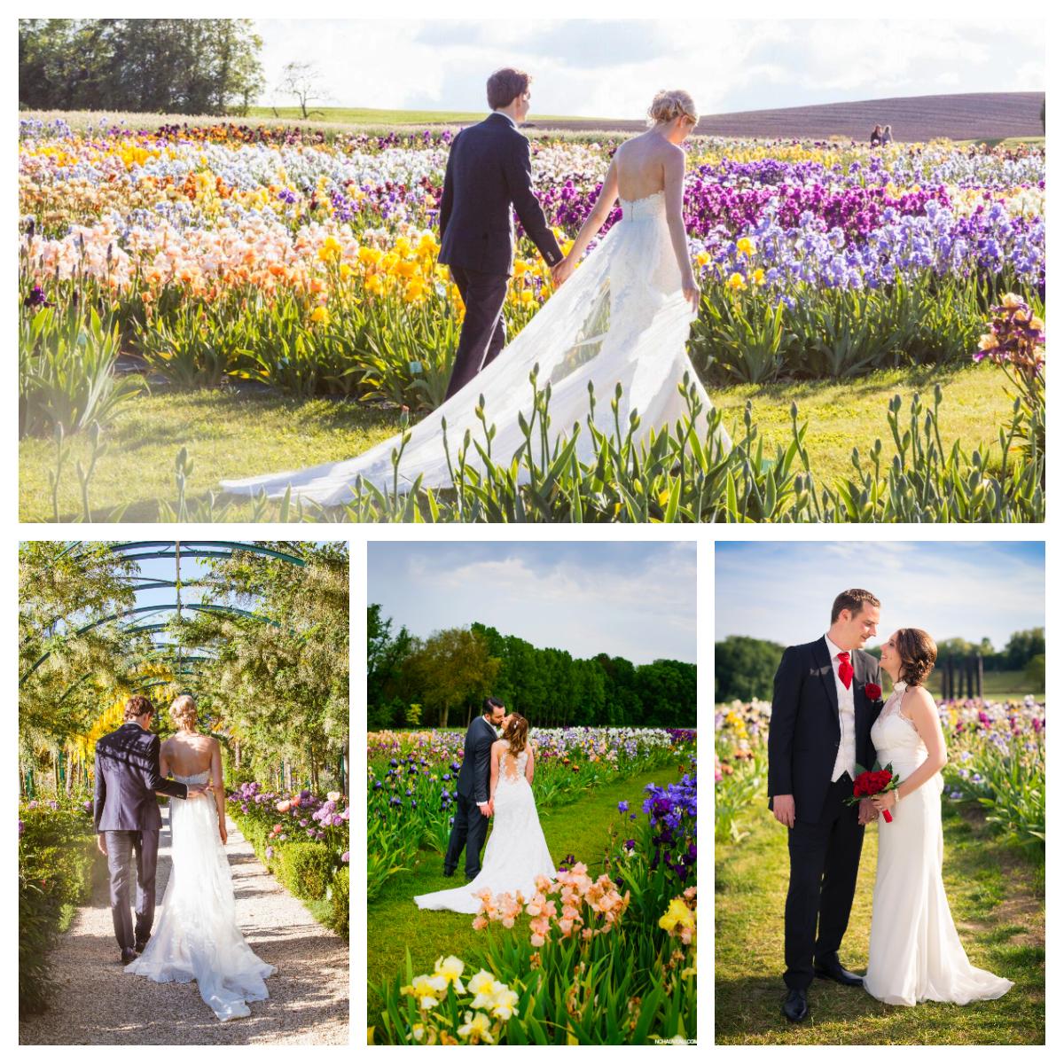 Couples de mariés dans les Jardins du Château de Vullierens